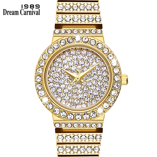 Dreamcarnival 1989 Full Crystals Round Case Luxury Wrist Bracelet Watches for Wo