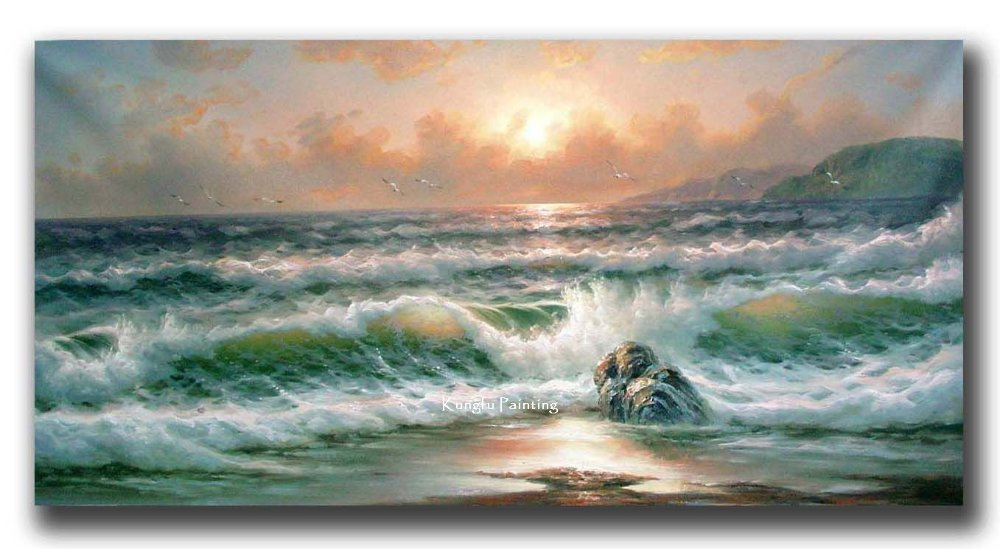 100 Hand Painted High Quality Canvas Ocean Waves Oil