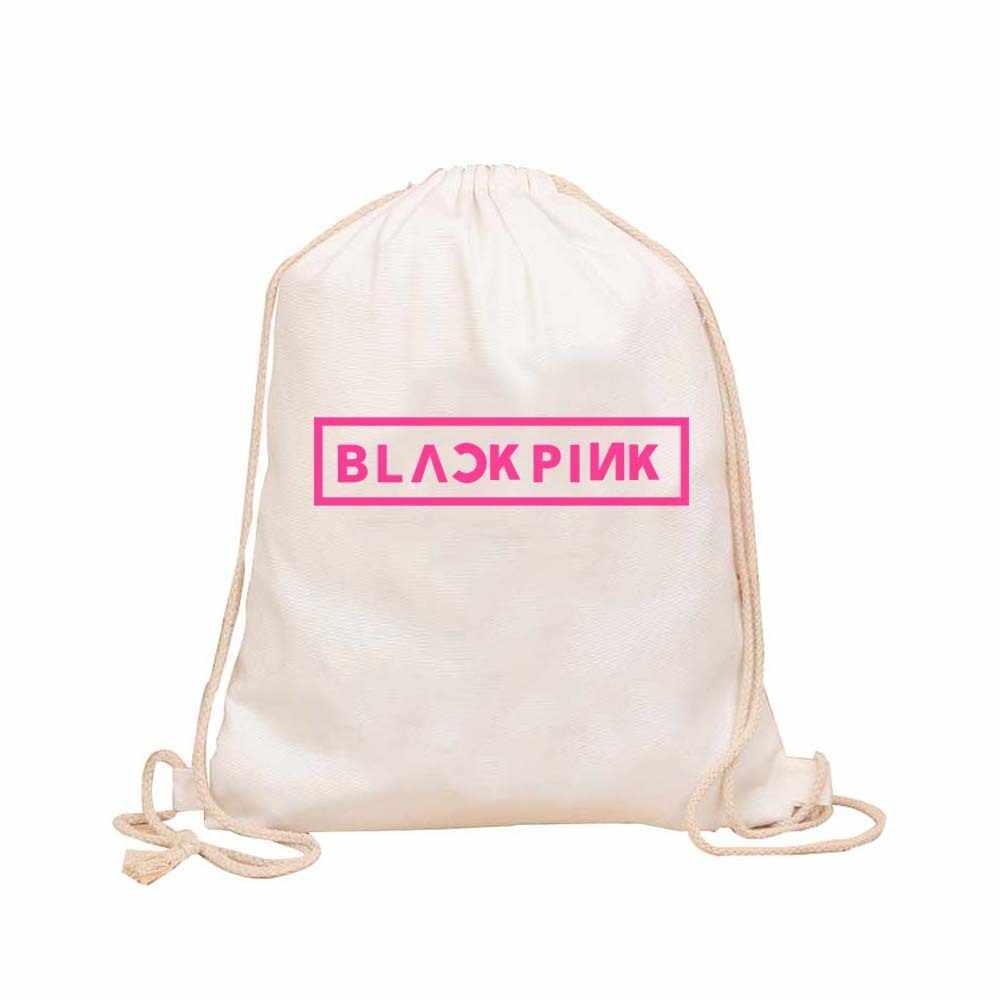 c317fb662 ... frauen rucksack blackpink kpop plecak bts mochila para mulher vintage  bagpack canvas drawstring bag women backpack ...