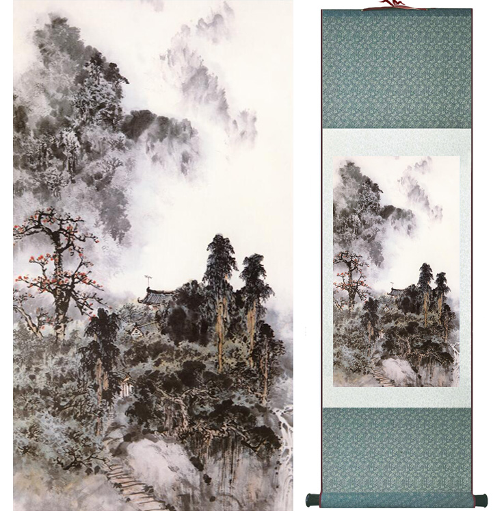 landscape painting Home Office Decoration Chinese scroll painting mountain and River paintingPrinted painting042606