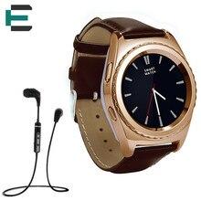ET G4 Lederband SiM TF Karte Smart touch Uhr Herz Rate monitor Smartwatch für Samsung getriebe s2 Xiaomi Huawei + BT kopfhörer