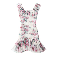 2018 Fashion show Rose Hip Slim Pack Sleeveless Fishtail Dress Pink Chiffon Print Dress