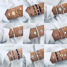 5 шт./компл. в богемном стиле золотистого цвета Луна лист кристалл опал браслет набор для Для женщин в стиле панк, бохо пляжные браслет, ювелирное изделие, подарок