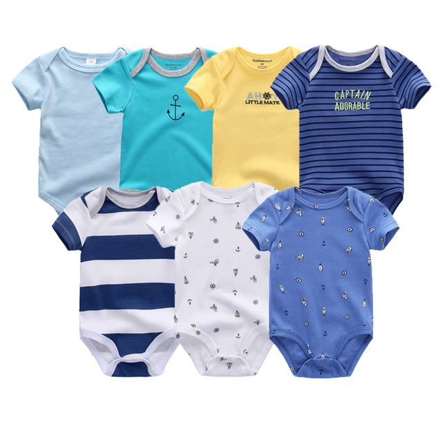 7PCS/lot 2020 Winter Uniesx Baby Romper Cartoon Short Sleeve Cartoon Clothes sets baby jumpsuit Outfits Clothing Roupa De Bebe