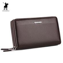 WilliamPOLO 2017 Leder Vintage Solide Handtasche Telefon Fällen Marke Herren Brieftasche Doppel-reißverschluss Aus Echtem Leder Tasche POLO163
