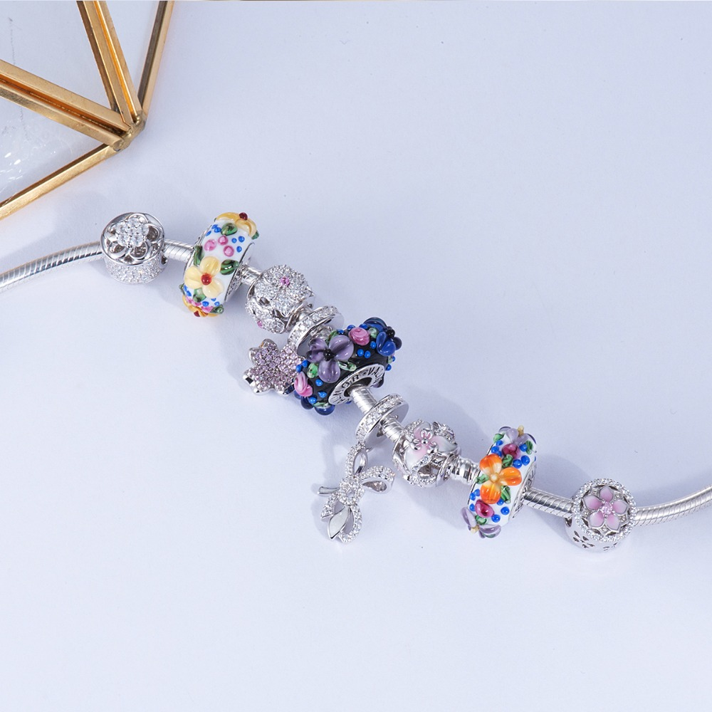 Image 2 - Blooming flowers Handmade Murano Glass Beads 925 Sterling Silver 