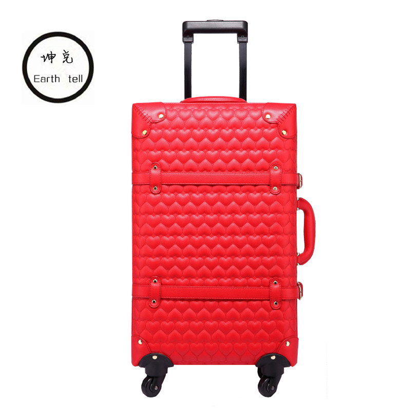 KUNDUI New 22 24 Inch Vintage Travel Trolley Luggage Suitcase PU Red marriage With TSA Lock Rolling Bride Makeup Bag With Wheels 12 20 22 24 26 gray retro trolley suitcase bags 2pcs set vintage travel trolley luggage with spinner wheels with tsa lock