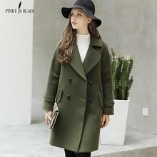 Pinky Is Black 2017 Winter Woolen Women Coat Long Trench Turn-down Collar Preppy Style Female Jacket Wool Blends Outwear цена в Москве и Питере