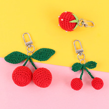 Handmade Knitting  Big Cherry Strawberry Key Chain for women Funny Fruit Keychains Bag Hanging Car Holder