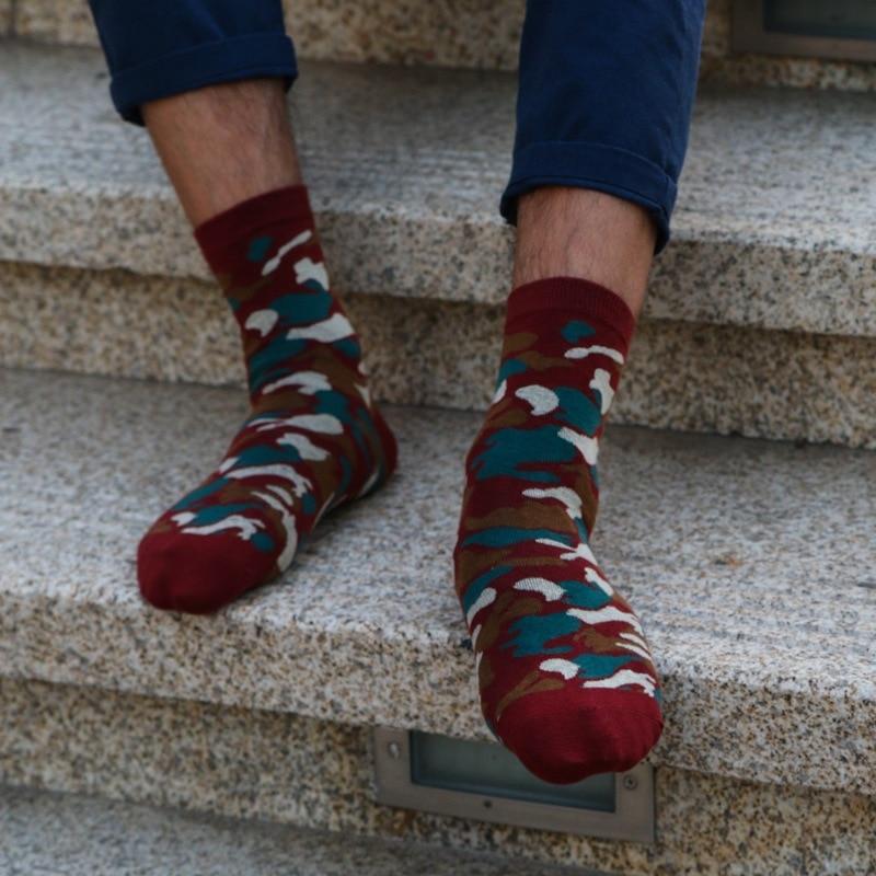 Men Fun Fashion Plaid Sock Cotton Camouflage Patterns Socks (5Pairs) Standard Sizes