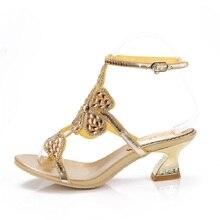 G-sparrow 2019 Summer New Women Gold Rhinestone Thick Heels Sandals Diamond Shoes Luxury Big Size 5.5cm