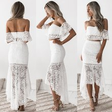 2019 the new dress lace wipes chest and shows back of pencil skirt two-piece suit
