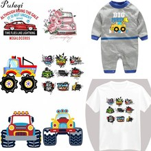 Pulaqi Cartoon Car Thermal Transfer Patches Diy For Clothing Kids Washable Patch Household Irons Wholesale D