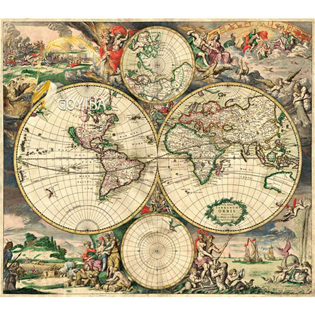 michelangelo wooden jigsaw puzzles 500 pieces map of the world in year 1689 educational toy decorative