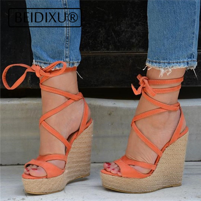 e1479a0b80 BEIDIXU PENG Wedge Sandals Ankle Strap Cross Tie Platform Slingback Open  Toe Platform Gladiator Vintage Style Sandals Causal