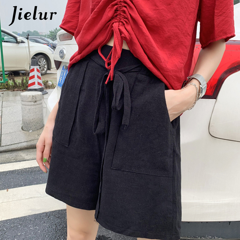 Jielur Leg-Shorts Pantalon Elastic Korean Summer Women Casual Wide Corto Linen Solid