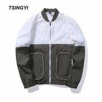 Tsingyi האיחוד האירופי טלאים סתיו גודל לבן שחור אפור טקטי גברים מעיל רוח מעילי Homme לוזון ז 'קט שרוול ארוך