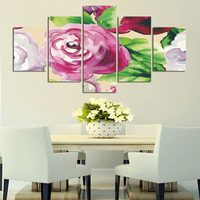 Big Size 5 Pcs Set Flowers Decoration Pink Rose Canvas Painting Wall Art Pictures For Living