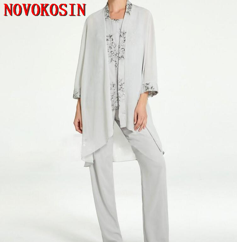 2019 Silver Mother Of The Bride Pant Suits With Jacket 3 ...