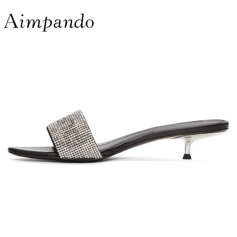 2019 New Arrival One strap Rhinestone Slippers Women Metal Thin Heel Low Heels Open Toes Crystal