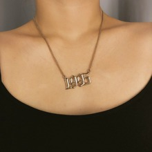 OLOEY New Simple Women Necklace Fashion Alloy Digital Pendant Necklaces For Female Sexy Short Clavicle Chkoers Chains Jewelry