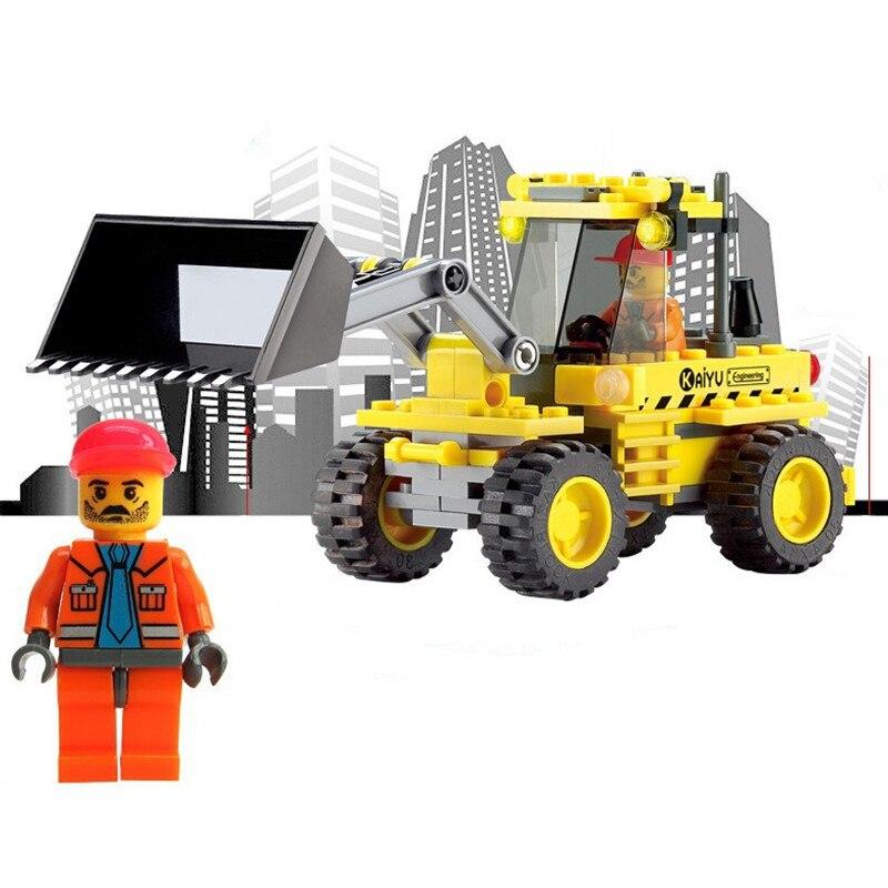 En yeni Noel Hediyeleri Enlighten Çocuk 8042 Eğitim Binası Buldozer Araba 117 adet Inşaat Tuğla Blokları Oyuncaklar Z189