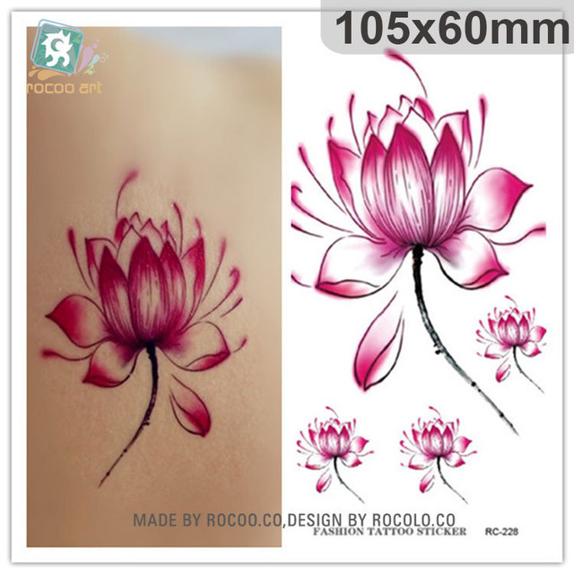 Simple waterproof temporary tattoos for men women 3d red lotus simple waterproof temporary tattoos for men women 3d red lotus flower design tattoo sticker free shipping rc2228 in temporary tattoos from beauty health mightylinksfo