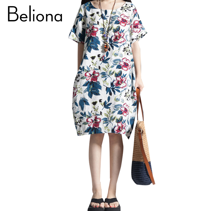 Loose Floral Print Maternity Dress for Pregnant Women Summer 2017 Cotton Linen Bohemian Maternity Clothes Pregnancy Clothing