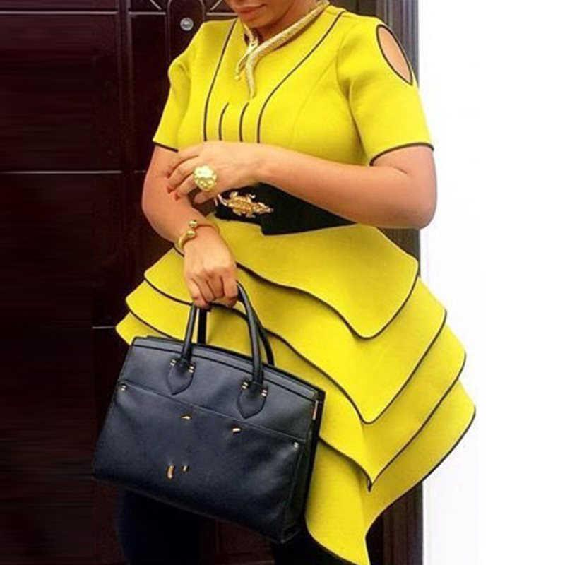 Jaune haut pour femme Blouse été 2019 élégant rayure OL dames volants manches courtes femme hauts rétro chemises camisa femenina