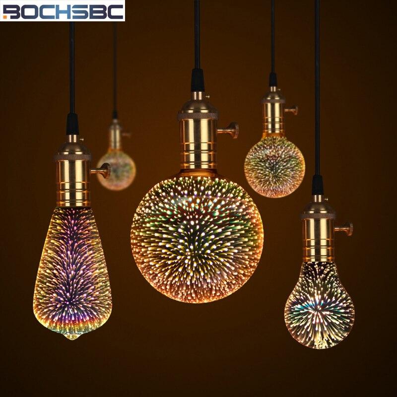 BOCHSBC красочные 3D фейерверк эффект E27 светодиодный лампы волшебная лампа огни Новогоднее украшение E27 лампы настольные лампы для Спальня исс...