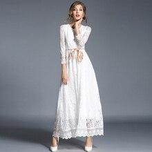 فستان دانتيل أبيض ماكسي بأكمام طويلة