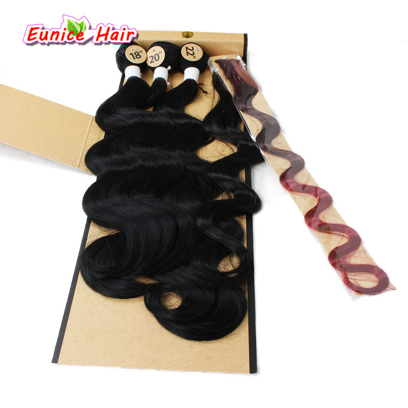 Rainbow Color Ombre Brazilian Body Wave Hair Weft Clip In Cheap Synthetic Perruque 3 Pieces Hair Weft 1 Closure Synthetic Wavy