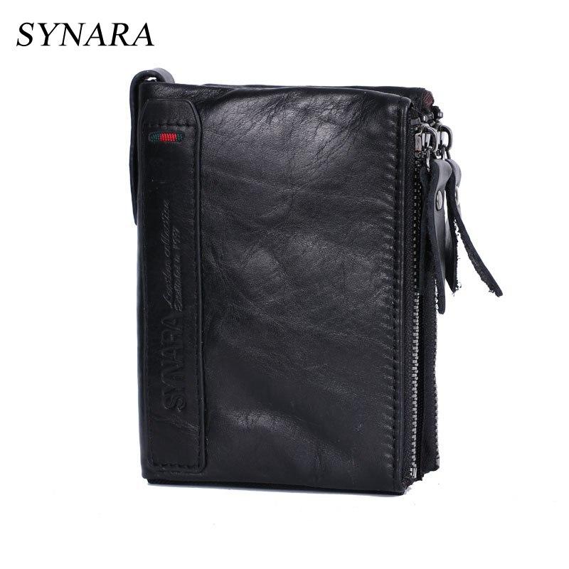 SYNARA Echtem Leder herren Brieftaschen Designer Kupplung Business Männlichen Brieftasche Karte Halter Dollar Geldbörse für Männer