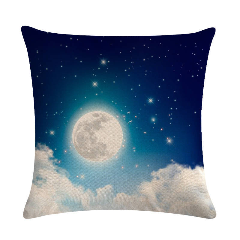 Night Sky Print Cushion Cover Linen Cloud Moon Pattern Cartoon Decorative Pillow Covers 45 45 for Bedroom Sofa Home Decoration in Cushion Cover from Home Garden