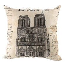 Decorative cushions for sofa 2019 Modern Style Ancient Building Linen Hug Pillowcase Home Decoration45x45cm coussin de chaise(China)