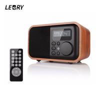 LEORY D90 Wireless Bluetooth Speaker Portable Wooden Speakers HIFI TWS Alarm Clock 1800MAh FM Radio USB