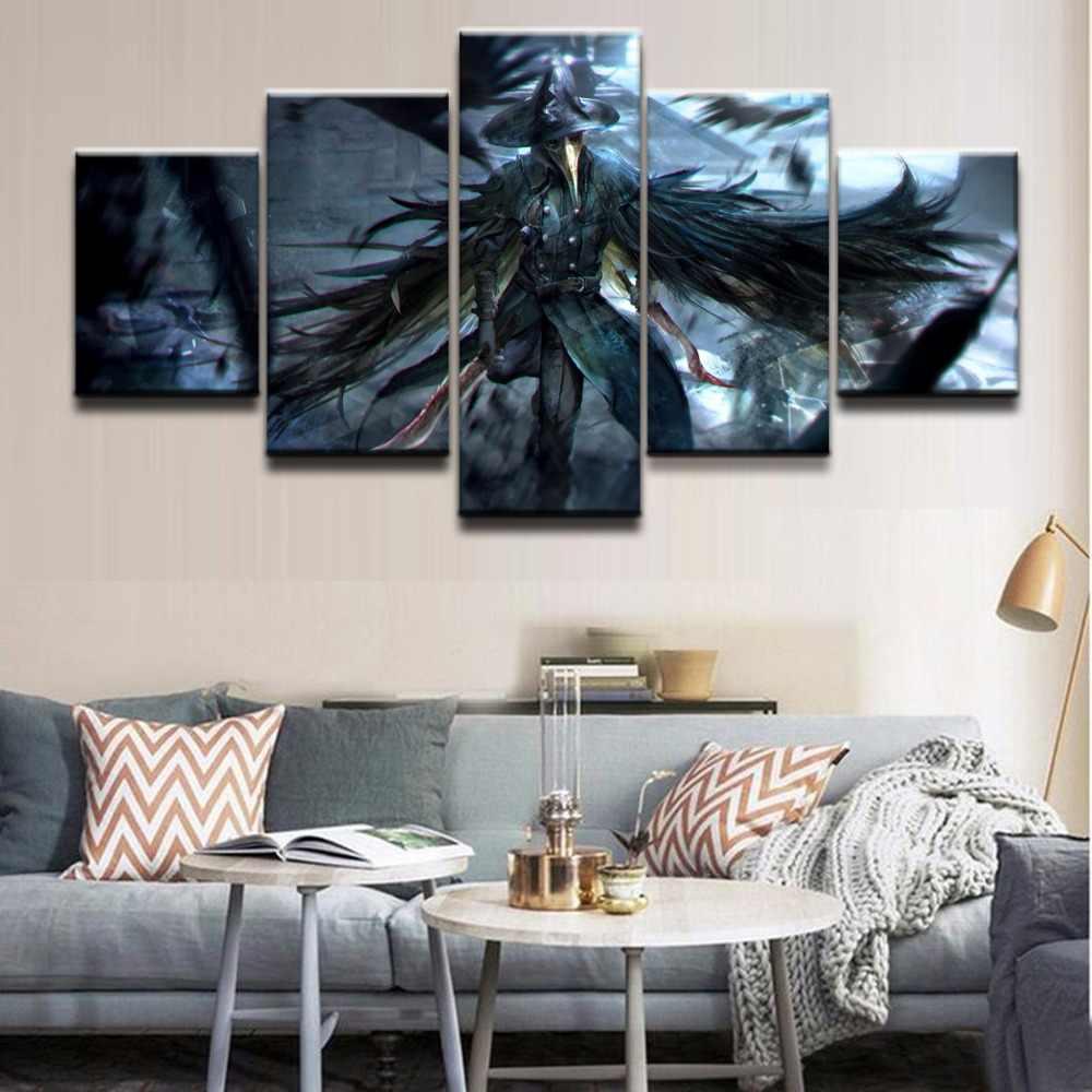 ผนังศิลปะผ้าใบโปสเตอร์กรอบตกแต่งบ้าน 5 ชิ้น Bloodborne Crow กริชนักรบภาพวาดโมเดิร์น HD พิมพ์ภาพ