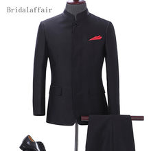 Bridalaffair Fashion Black Mens Wedding Suits Wool Blend Groom Tuxedo Luxury Chinese Tunic Suit Men Suit Jacket with Pants 2Pcs(China)