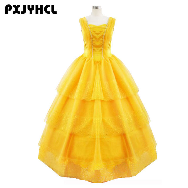 Beauty And The Beast Costumes Princess Belle Dresses Halloween Adult Cosplay Costume For Women Yellow Fantasias Long Dress