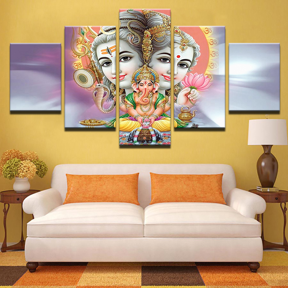 HD Print 5 pcs canvas wall art Shiva Parvati Ganesh Painting modern ...