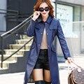 Nova jaqueta de couro Meninas longo parágrafo Coreano de Slim grandes estaleiros temperamento windbreaker do revestimento do revestimento das mulheres do PLUTÔNIO