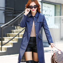 new leather Girls jacket long paragraph Korean Slim big yards temperament windbreaker jacket PU women coat