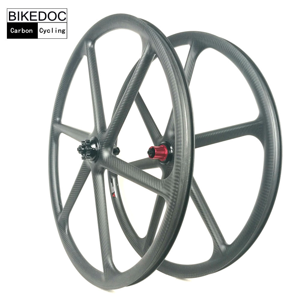 BIKEDOC Mountain Bike Carbon 6 Spoke Wheel 26er Carbon Mtb Wheel 650b And 29er Mtb Bicycle Wheel 29er hookless carbon bicycle wheel tubeless mountain bike wheel set thru axle 15mm 29inch mtb wheel