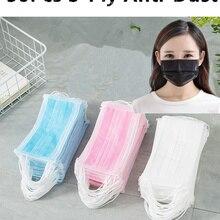 50Pcs 3-Ply Anti-Dust Face Mouth Masks Prevent dust smog sterilize breathable health