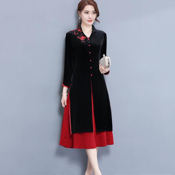 US $32.9 50% OFF|women cardigan dress suits velvet black 2 piece embroidery  floral dresses elegant vintage female plus size large 3xl 4x DC324-in ...