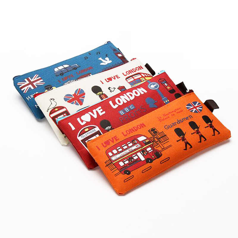 Pencil Case Box File Case Storage Student Stationery School Office Supply Gift Kawaii I Love London Soldier Sheep Oxford Case