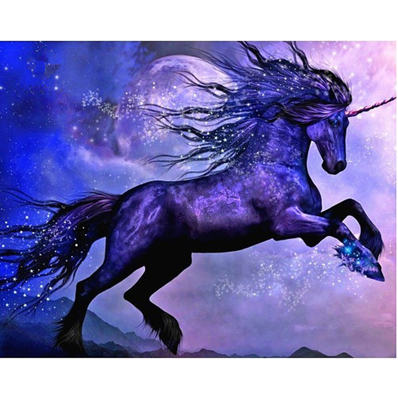 Buy diy diamond painting purple unicorn for Paintings of crystals