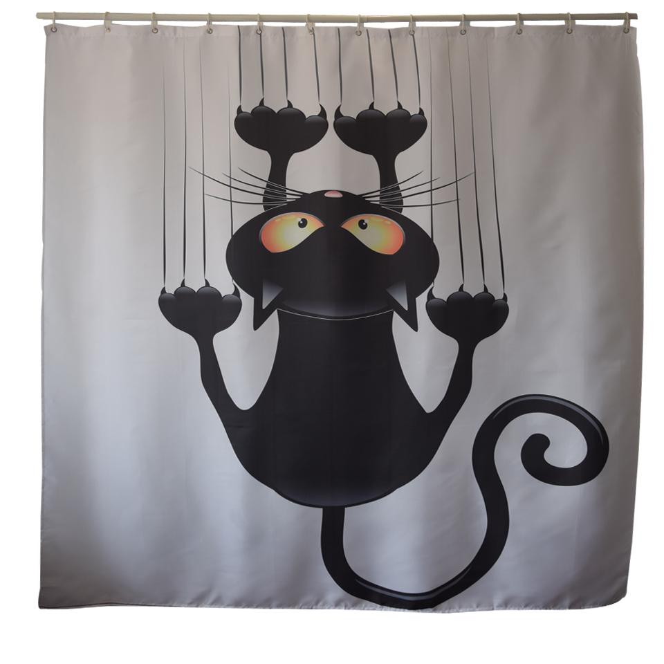 PapaMima Cute Black Cat Waterproof Shower Curtains Polyester Bathroom With Hooks 180x180cm DecorativeChina