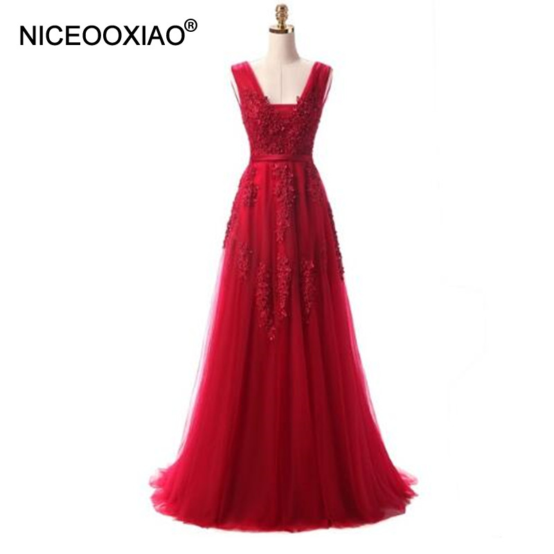 NICEOOXIAO Vestido De Festa 2017 Elegant Long Evening Dress Wine Red Lace Beading Sexy Backless Prom Gown Banquet Dress Formal