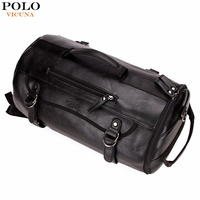 VICUNA POLO Personality Large Size Round Leather Mens Travel Bag Fashion Rolling Travel Backpack For Man